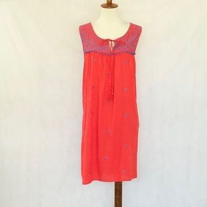 Umgee Sleeveless Orange-Blue Embroidery Dress